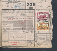 BELGIQUE DOCUMENT SUR TIMBRES CHEMIN DE FER TAMPON TIENEN X GOEDEREN X LIERRE : - Railway