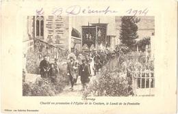 Dépt 27 - BERNAY - Charité En Procession à L'Église De La Couture - (Pentecôte) - Cachet GARE DE LISIEUX - INFIRMERIE - Bernay