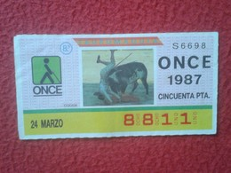 CUPÓN DE ONCE SPANISH LOTTERY CIEGOS SPAIN LOTERÍA ESPAÑA BLIND 1987 TOROS BULLFIGHTING CORRIDA TORERO COGIDA RUEDO TORO - Billetes De Lotería