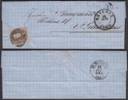 """Belgique - LAC COB 6 Au Filet De Callo 13/07/1860 Vers St Gillis-Waes - Boite Rural """"U"""" Via Beveren (RD279)DC5793 - 1858-1862 Médaillons (9/12)"""