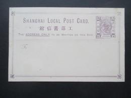 Ca. 1873 China Shanghai Local Post Card 1c Dragon Postal Stationery / Ganzsache Ungebraucht! - ...-1878 Préphilatélie