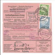 1955 Auslandspostanweisung Heuss 10 + 30Pf Beuron - Briefe U. Dokumente