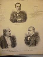 Les Nouveaux élus De L'Académie Française , Edouard Her(vé , Lecomte De Lisle , Léon Say , Gravure  De 1886 - Historische Dokumente
