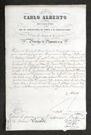 Regno Sardegna Autografo Re Carlo Alberto E Conte Cavour Patente Di Grazia 1849 - Autógrafos