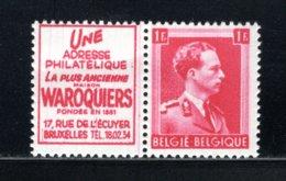 PU168 MNH 1941 - 1 Fr Waroquiers (Frans) - Publicités