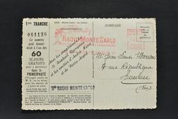 "Monaco - EMA ""Ecoutez Radio Monte Carlo"" Sur Carte Postale Publicitaire - Marcophilie - EMA (Empreintes Machines)"