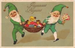 Pâques - N°63664 - Joyeuses Pâques - Lutins Apportant Un Panier Rempli D'oeufs Et De Poussins - Pasqua