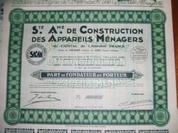 Billancourt - Lot De 25 Parts De Fondateur  SACAM Société Anonyme De Construction Des Appareils Ménagers 1930 - Actions & Titres