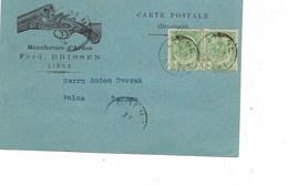 """LE 0439. ARMES.  N° 56 (2) LIEGE 9 JUIN 1899 S/CP Illustrée """"Manufacture D' ARMES Ferd. DRISSEN. LIEGE V. BOHEME - 1893-1907 Stemmi"""