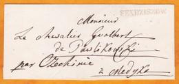 1844 - Postal Mark Sendziszow / Sedziswow,  Poland On Wrapped Cover To Medgko, Via Czechinie - Poland