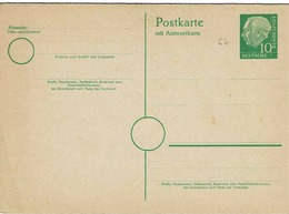 Entier Postal De 10 Pf  Vert Au Type Du TP 67 Avec Carte Réponse Payée - Postkaarten - Ongebruikt