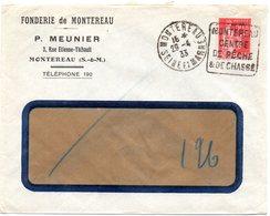 SEINE Et MARNE - Dépt N° 77 = MONTEREAU 1933 (année En 2 Chiffres) = FLAMME DAGUIN ' CENTRE PECHE CHASSE ' - Oblitérations Mécaniques (Autres)