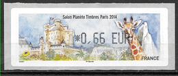 FRANCE Paris 2014 Salon Planète Timbres Vignette 0.66 € . Zoo De Vincennes . Girafe Donjon Du Château . - 2010-... Vignette Illustrate