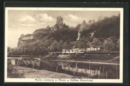 AK Limburg / A. Rhein, Flusspartie Kaffee Rheinfried Mit Ruine Im Hintergrund - Allemagne