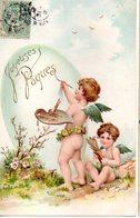 CPA  -  Embossée Ou Gaufrée  -  Joyeuses Paques , 2 Anges  -   écrite - - Easter