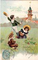 CPA  -  Embossée Ou Gaufrée  -  Joyeuses Paques , Enfants   -   écrite - - Pâques