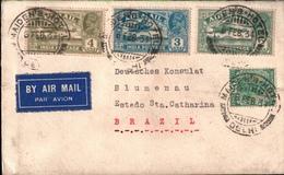 ! 1934 Airmail Cover India Maiden Hotel Dehli To Blumenau, Brazil, Luftpostbrief Indien Nach Brasilien - Inde (...-1947)