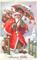 280120b - JOYEUX NOEL - 1958 Hiver Neige Père Noël Hotte Jouet Ours Parapluie Clochette - Menu Au Verso - Weihnachten