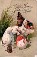 CPA  -  Embossée Ou Gaufrée  - Joyeuses Paques  Poule Et Lapin     -   écrite - - Pâques