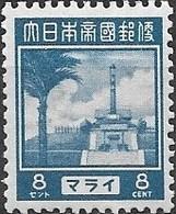 JAPANESE OCCUPATION OF MALAYA 1943 War Memorial, Bukit Batok, Singapore - 8c - Blue MNH - Grande-Bretagne (ex-colonies & Protectorats)