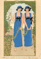 CP.   Costumes   Parisiens.  Robe De Jardin Bleu Vif , Ceinture De Velours Noir. Chapeau Toile  Et Velours - Mode