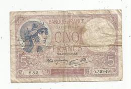 JC , Billet , FRANCE , 5 Francs Violet , 3 8 1939 , 2 Scans - 5 F 1917-1940 ''Violet''
