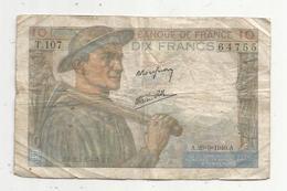 JC , Billet , FRANCE , 10 Francs Mineur , 26 9 1946, 2 Scans - 1871-1952 Anciens Francs Circulés Au XXème