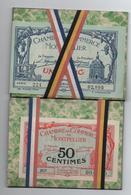 BILLETS DE NECESSITE CHAMBRE DE COMMERCE De MONTPELLIER (HERAULT) 1 FRANC / 50 CENTIMES Avec ETUI - Cámara De Comercio