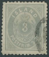 ISLAND 2B O, 1873, 3 Sk. Grau, Gezähnt L 121/2, Unprüfbares Stempelfragment, Fein, Mi. 500.- - Island