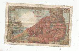 JC , Billet , FRANCE , 20 Francs Pêcheur , 28 1 1943, 2 Scans - 1871-1952 Anciens Francs Circulés Au XXème