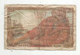 JC , Billet , FRANCE , 20 Francs Pêcheur , 10 2 1944, 2 Scans - 1871-1952 Anciens Francs Circulés Au XXème