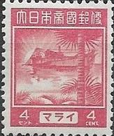 JAPANESE OCCUPATION OF MALAYA 1943 Tin Dredger - 4c - Red MNH - Ocupacion Japonesa