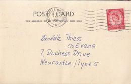 QUEEN ELISABETH II STAMP ON POSTCARD, 1959, UK - 1952-.... (Elizabeth II)