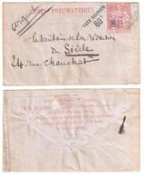Chambre Des Députés Paris Enveloppe Entier 60c/75c Yv 2760 Rabat De L'enveloppe Plié Sur Verso Ob 1889 - Pneumatiques