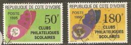 Ivory  Coast  1995 SG 1137-8   Butterflies Overprints  Clubs Philatiques Scolaires Fine Used - Côte D'Ivoire (1960-...)