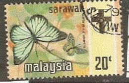Malaysia Sarawak 1971  SG  220  Butterflies   Fine Used - Malesia (1964-...)