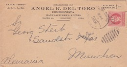 """""""ANGEL R DEL TORO"""" CUBA COMMERCIAL COVER, CIRCULATED 1924, HOLGUIN TO MUNCHEN, GERMANY. -LILHU - Briefe U. Dokumente"""