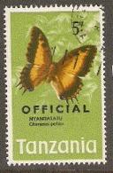 Tanzania  1973  SG 049  Official Overprints   Butterflies  Nyandatatu  Fine Used - Tanzania (1964-...)