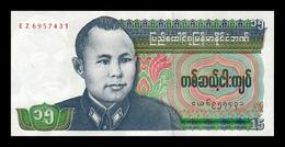 Burma Birmania 15 Kyats 1986 Pick 62 SC UNC - Myanmar
