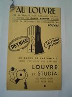 MARQUE PAGE : PUBLICITE MAGASIN AU LOUVRE / GANTS REYNIER / PARFUMS LOUVRE & STUDIA - Publicités
