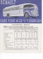 638 PUBLICITÉ ANCIENNE BROCHURE RENAULT CARS  ADN ADJ ZP  ZP LONG 14 22 23 21 Passagers Assis Autobus - Camions