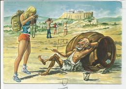 Dessin Humoristique. Diogène Mendiant Auprès D'une Touriste. - Grecia