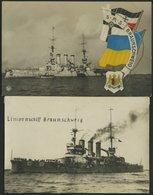 ALTE POSTKARTEN - SCHIFFE KAISERL. MARINE BIS 1918 S.M.S. Braunschweig, 2 Ungebrauchte Karten - Warships