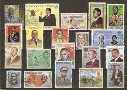 Chefs D'Etat Africains - Petit Lot De 20 ° - Mandela - Mobutu - Bokassa - Houphouet-Boigny - Habyarimana - Diori Hamani - Vrac (max 999 Timbres)