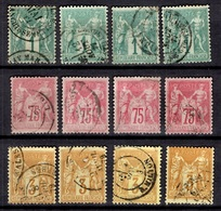 France Sage YT N° 61 (4), N° 81 (4) Et N° 86 (4) Oblitérés. B/TB. A Saisir! - 1876-1878 Sage (Type I)