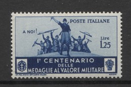 REGNO 1934 MEDAGLIE AL VALOR MILITARE 1,25 CENTRATO ** MNH - Nuevos