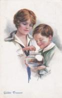 Femme Et Enfant Avec Poisson Rouge Dans Un Bocal- Vivian MANSELL- London N°1087 (lot Pat 98/02) - Künstlerkarten