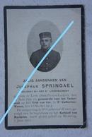 Mortuaire ABL Soldat Josephus SPRINGAEL Sint Pieters Leeuw 1893 SINT KATELIJN WAVER 1914 WO1 Antwerpen - Todesanzeige