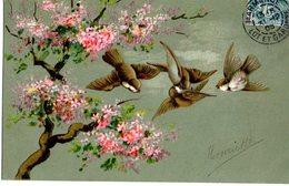 CPA  -  Embossée Ou Gaufrée  - Hirondelles Et Arbre En Fleurs    -  écrite   - - Fancy Cards