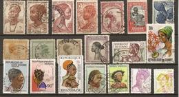 Coiffures Africaines - Petit Lot De 20° - Sénégal - Rwanda - Bénin - Côte D'Ivoire - AOF - AEF - Congo - Guinée - Angola - Lots & Kiloware (max. 999 Stück)